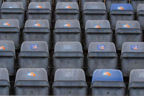 Rows of stadium seating