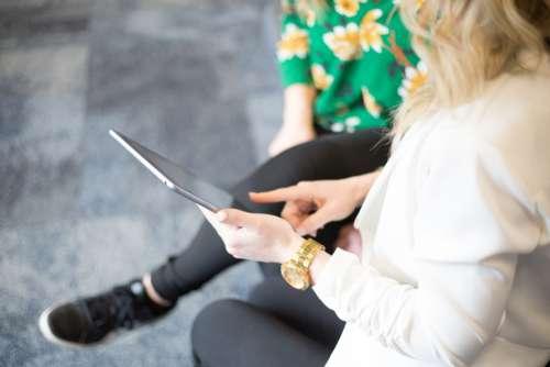 tablet people meeting business coworkers