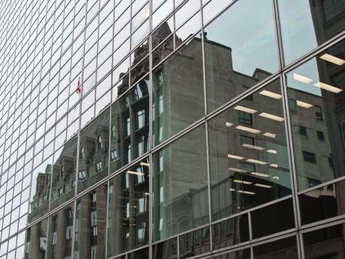 city buildings glass windows downtown