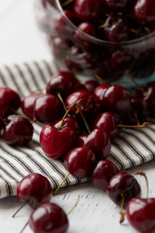 cherries fruit food fresh diet