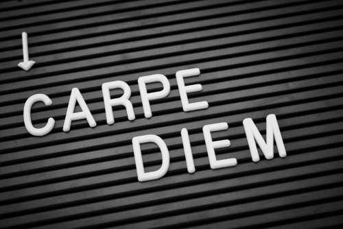 positive text phrase carpe diem