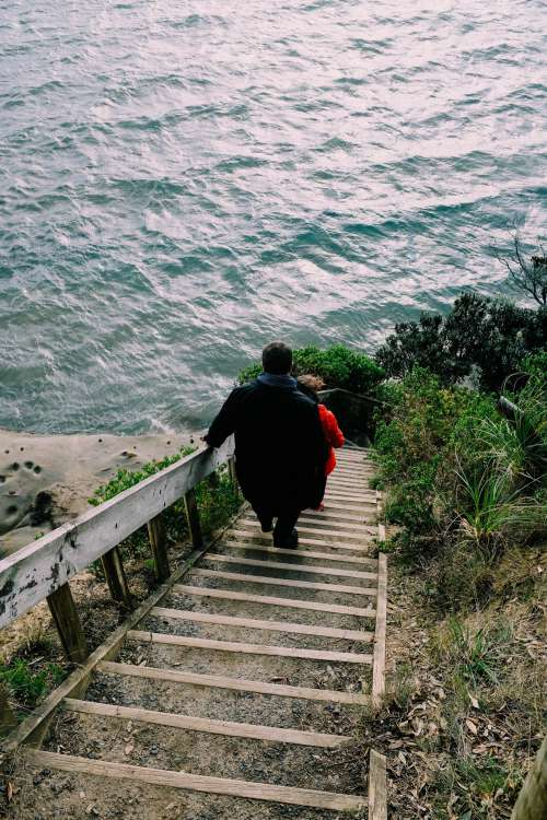 Couple On Seafront Steps Photo