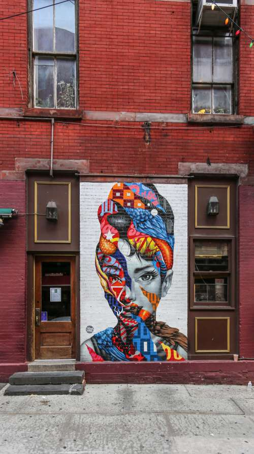 Portrait Of A Woman Painted On Wall Photo