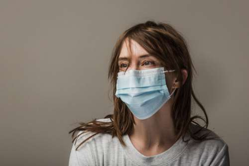 Woman With Brown Hair Wearing Disposable Face Mask Photo