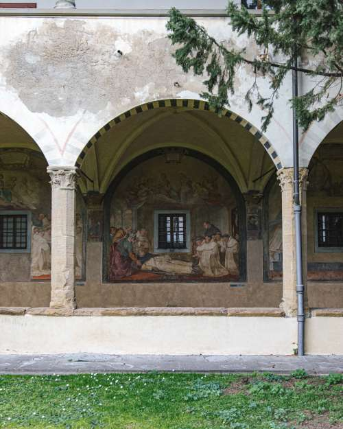 Vaulted Walkway Religious Painting Photo