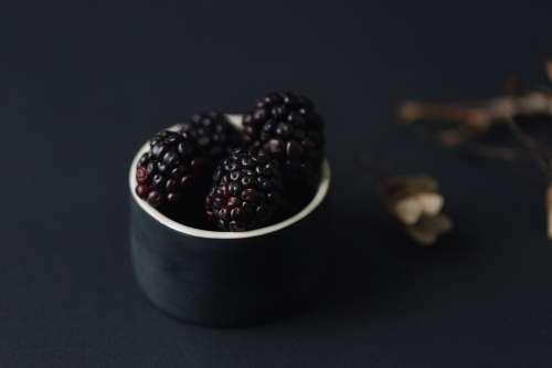 Blackberries In A Black Dish Photo