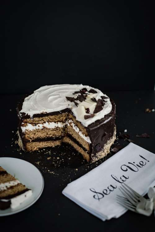 Layered Cake With Decorative Napkin Photo
