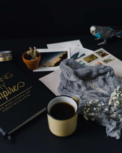 Artsy Layout With A Book And Coffee Photo
