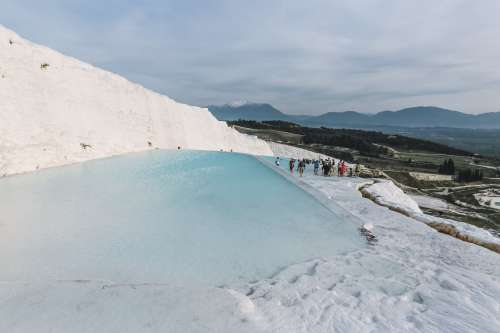 Blue Thermal Pools Contrasting Countryside Photo