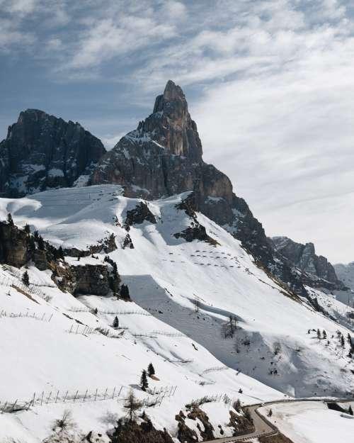 Snowy Mountain Slope Photo