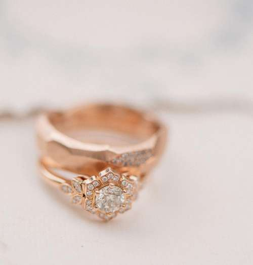 Rose Gold Ornate Wedding Ring Photo