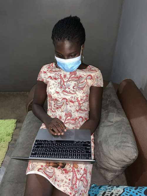 covid19, COVID-19, telework, mandatory mask, protective mask, laptop, computer, prevention measures, barrier gestures, coronavirus, quarantine, self-isolation, girl, woman, people, work, pandemic, epidemic