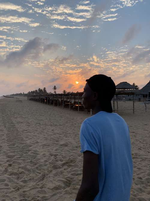 man, people, sand, sunset, walk, beach, looking, leisure, hat, cap