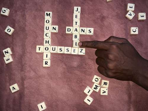 coronavirus, covid19, COVID-19, board games, scrabble, words, vocabulary, awareness, message, self-isolation, barrier gestures, advice, hand, playing, index, fun