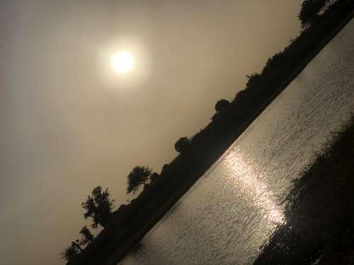 sunset, backlit, dawn, light, sunshine, evening, sky, dusk, landscape, lake, river, travel, beach