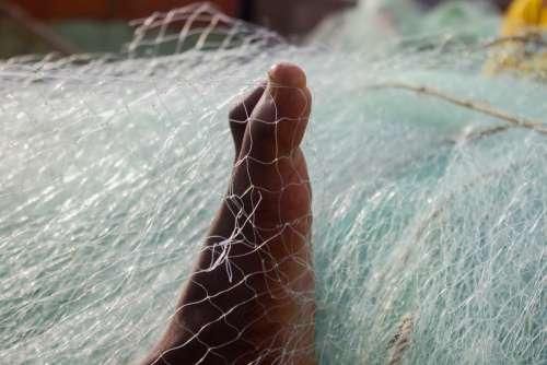 fishing nets, feet, weaving, people, work, acadja