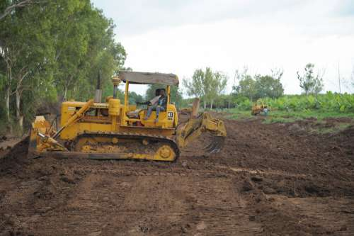 men, people, field, tractor, mechanical agriculture, work, farmers, production, clearing, plowing the land