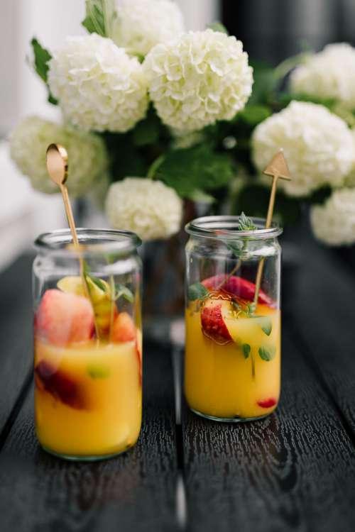 Fresh summer cocktail - orange - peach - mint