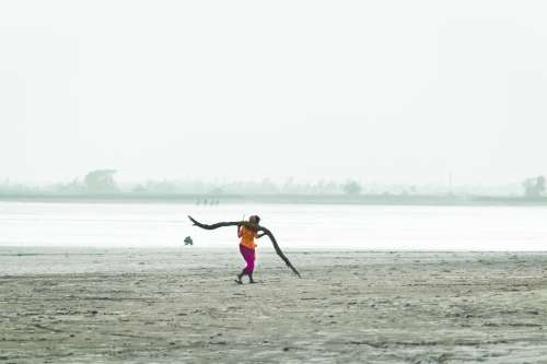 Woman Carries Wood Across Beach In India Photo