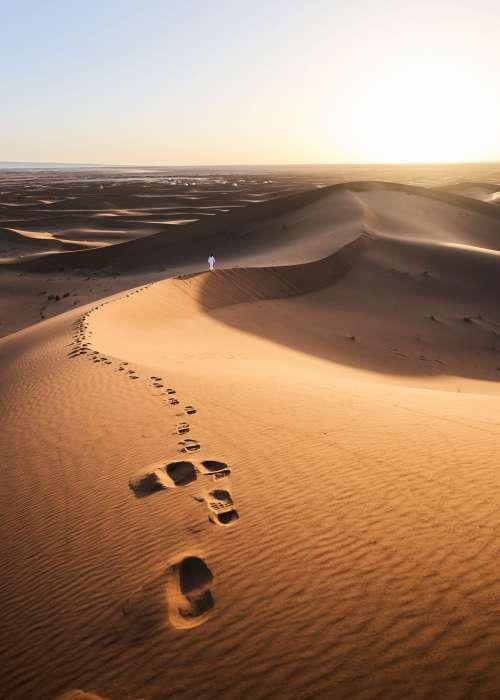 Footsteps Left In Sand Dunes Photo