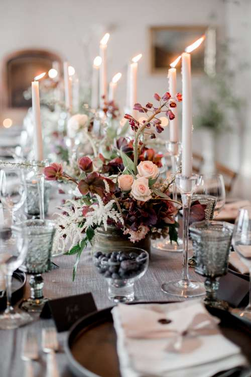 Deep Colors Of Floral Wedding Centre Piece Photo