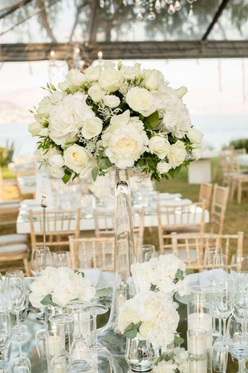 Beautiful Centerpiece At An Outdoor Wedding Photo