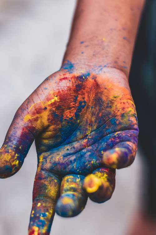 Hand Covered In Powdered Paint Photo