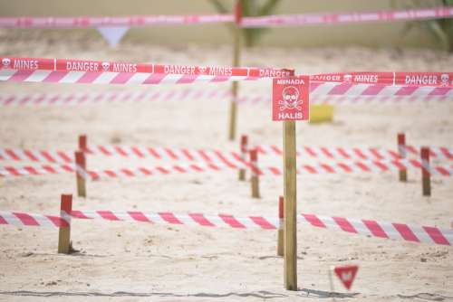 people, protective barrier, beach, danger, sand, security perimeter