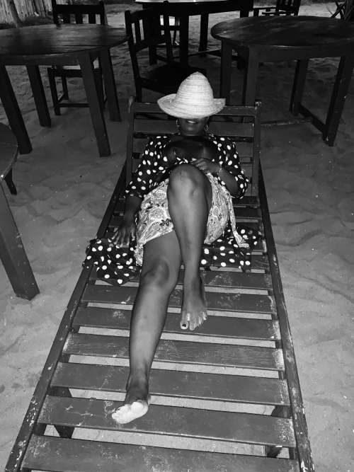 beach, people, sand, girl, woman, leisure, black and white, pose, posture, fashion, model, chair, wooden stand, facial expression, happiness, smile, joy, good vibes