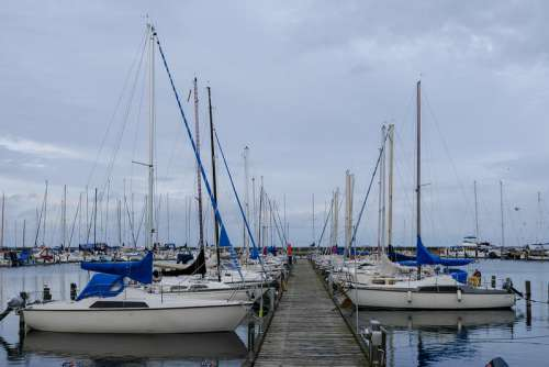 Docked Boats on a Cloudy Day