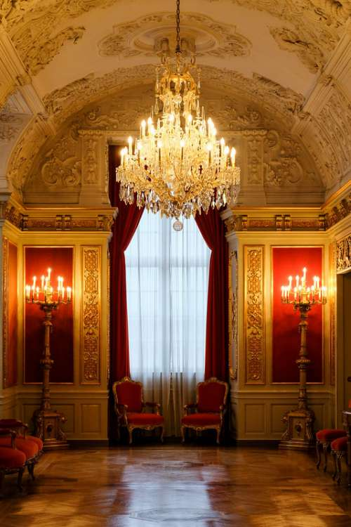 Chandelier Hanging in the Royal Living Room