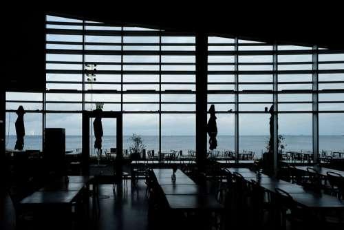 Empty Ocean View Restaurant