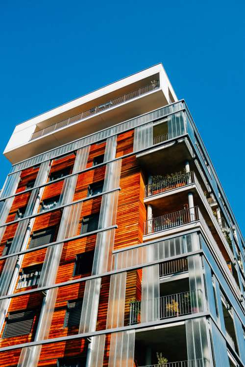 Contrasted Materials Of Modern Building Photo