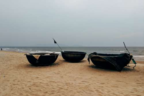 Coracle Boats In A Beach Photo