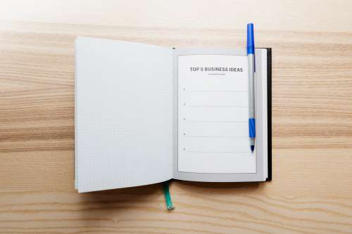 Open Journal With Top Five Business Ideas Photo