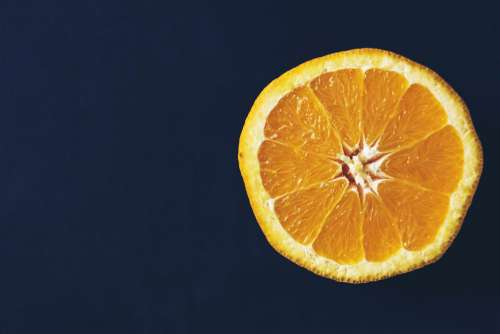 An orange cut in half