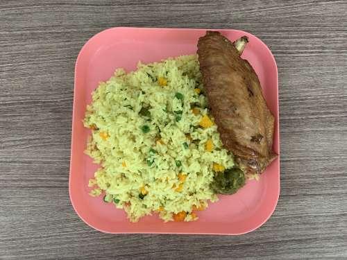 rice, fin, chicken meat, meal, dish, food, taste, flavor, nutrition, diet, pepper, lunch, dinner