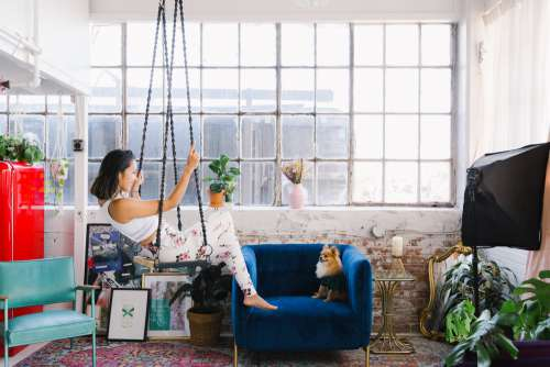 Loft Chic Living With Puppy Photo
