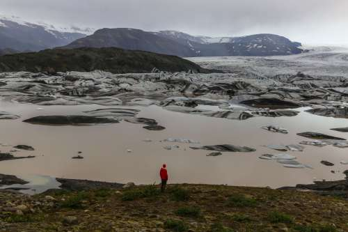 A Man And An Ice Field Photo