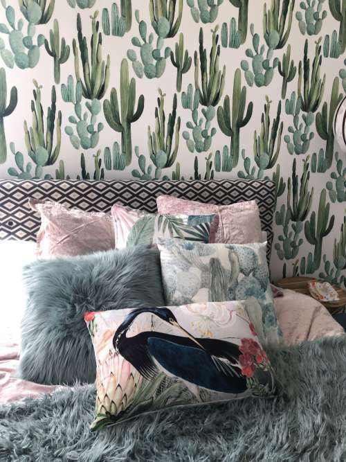 Bedroom Decor With Cactus Wallpaper Photo