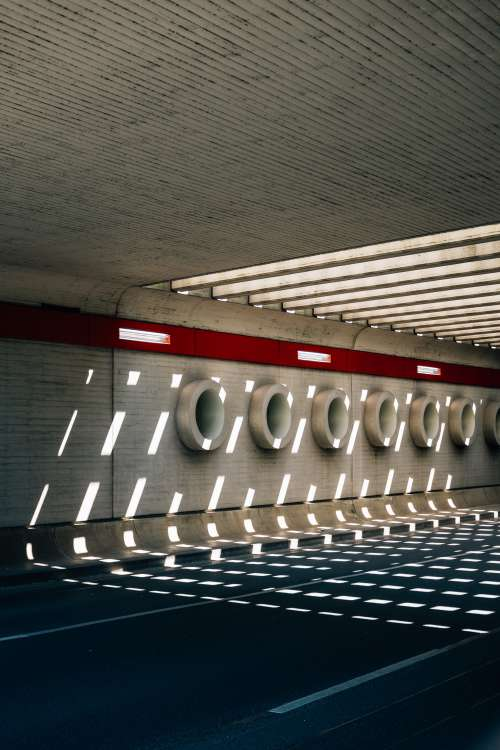 Patterned Tunnels On The Concrete Wall Photo