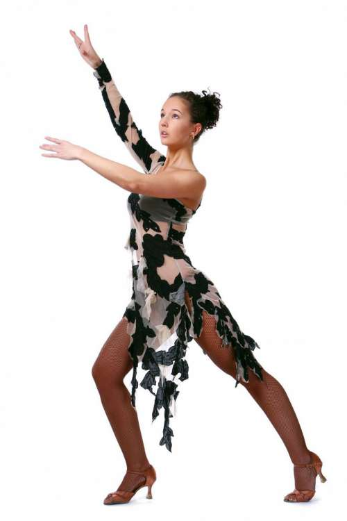 beautiful woman dancing latin dance