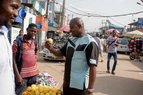 Nigerian Market with People