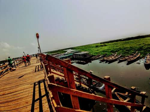 travel, architecture, wooden, bridge, lake, sea, river, stairs, boats, canoes, landscape