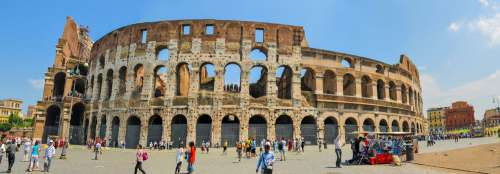 Wide View Of  Coliseum In Rome