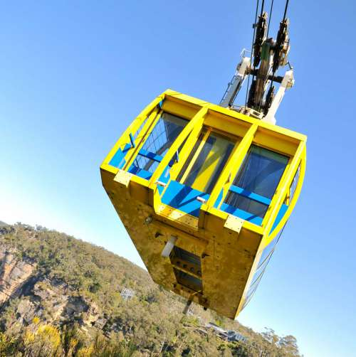 Large Modern Yellow Cable Car