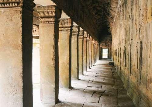 Ancient Columns Inside Temple