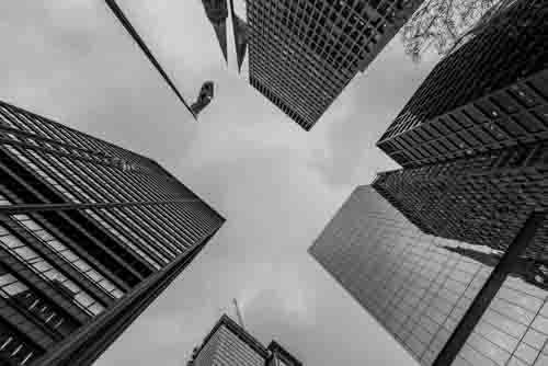 Abstract Perspective View Of Chicago City Skyscrapers