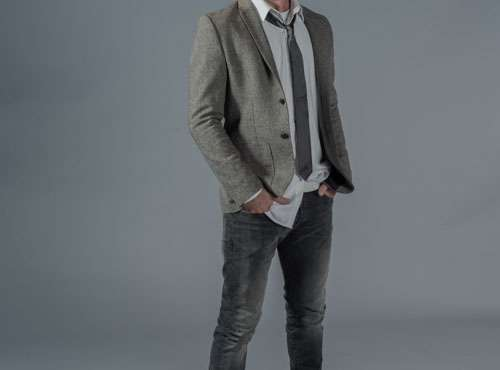 Male Fashion Winter Jacket And Grey Jeans