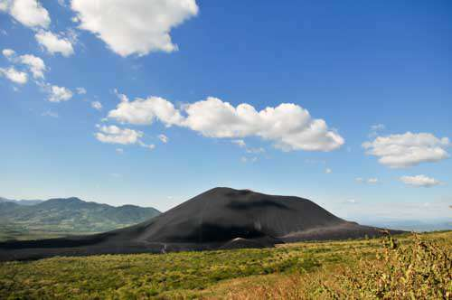 Landscape View Of A Volcao Mountain With Blue Sky